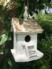 Bird house nest box, rustic real bark roof quirky shabby chic style with ladder