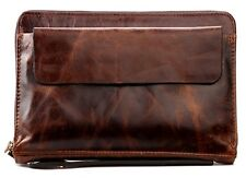 Vintage Genuine Cowhide Leather Men's Travel Clutch Bag Purse Bifold Wallet New