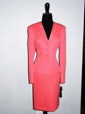 NEW$$$ TAHARI 2PC SKIRT SUIT 18 CORAL TEXTURED FABRIC BEADS DETAILS STYLISH CHIC