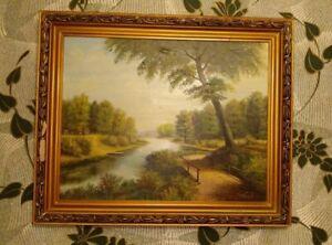 Oil Painting Handmade on Canvas 1989 Botvinov Nature Summer River Green Trees