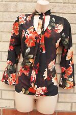 ME SHE ME BLACK RED YELLOW FLORAL TIE NECK FLARE SLEEVE BAGGY BLOUSE TOP 10 S