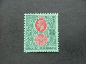 Sierra Leone KGV 1912 10/- carmine & blue-green on green SG127a MM