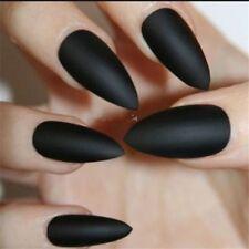 24Pcs Fashion Long Stiletto Art Fake Nail Tip Pure Matte Artificial Fingernails