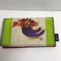 LAUREL BURCH Large Cloth Wallet/ Clutch Cat with Angel Wings Great!