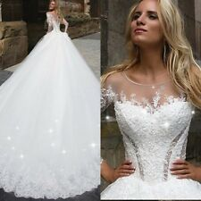 Bling Bling Wedding Dresses Bridal Ball Gowns Long Sleeves Appliques Custom Made
