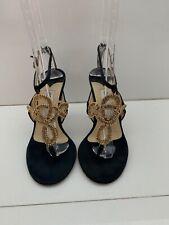 Jimmy Choo Blue Fabric Gold Mesh Heels 38.5 Very Heavily Worn