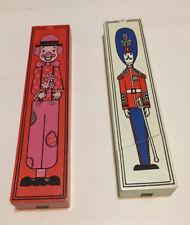 (2) Vintage Wooden Pencil Box w/ Sharpener Red Clown White Soldier School Office