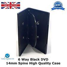 50 X 6 Way Nero DVD DA 14 MM DORSO detiene 6 DISCHI VUOTI Ricambio Nuovo Slim Case