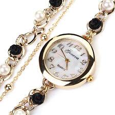 Women's Luxury Faux Pearl Flower Bracelet Quartz Analog Wrist Watch Fancy