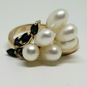 Estate 14k Yellow Gold Pearl Ring with Blue Sapphires 4.6 grams Size 8.5