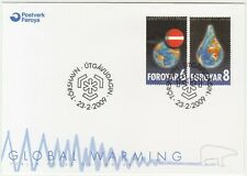 Faroe Islands 2009 Global Warning, Planet Earth & Raindrop, First Day Cover