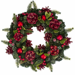 """Northlight 13"""" Red Green Velvet Floral With Ornaments Christmas Wreath - Unlit"""
