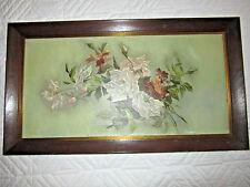 VICTORIAN vintage antique original oil PAINTING white roses flower floral FRAME