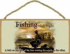 Novelty-Fun Wood Sign-Fishing Plaque-FISHING-A Jerk on One End of The Line