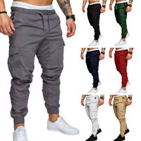 Men's Slim Fit Urban Straight Leg Trousers Casual Pencil Jogger Cargo Pants Cl