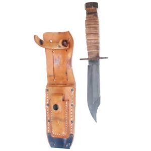 "Camillus Survival Knife Powder coated 5"" blade Leather sheath"