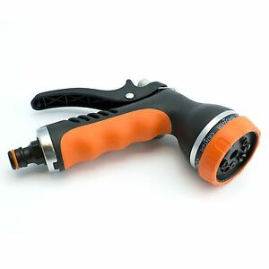 Hozelock Compatible - Adjustable 8 Pattern Metal/Rubber Spray Gun Garden Hose