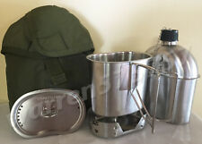 G.I. Style Stainless Steel 1qt. Canteen with Cup /Vented LID And Used G.I.Cover.