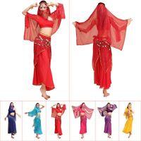 New Belly Dance Costume Set Shoulder Top Highlights Skirt Hip Scarf Veil Scarf