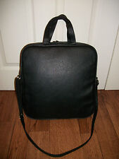 BLACK FAUX LEATHER SQUARE PADDED LAPTOP WORK DOCUMENT OFFICE BAG