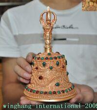 Tibetan temple Tibet silver Filigree inlay jade gem Tara Buddha head Bell Zhong