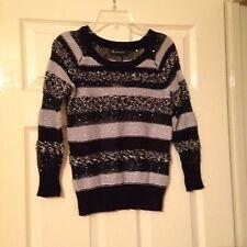 INC. New Black/Silver Metallic Embellished Long Sleeves Career Sweater XS