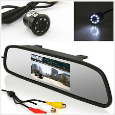 Car Reverse Parking 8LED Night Vision Camera+LCD Rearview Mirror Display Monitor