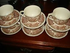 "Vintage Alfred Meakin FAIR WINDS CUPS 6 AND SAUCERS 6 And 7"" Plates Set Of 4"