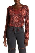 Lucky Brand Womens XXL Rust Persian Rug Print BOHO Peasant Top Slit Sleeve NWT