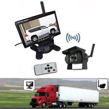 "Wireless Truck Trailer Bus Reverse Backup Rear View System IR Camera+7"" Monitor"