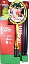 NEW Wilson Sports Outdoor 4 Player Badminton Kit - Net Shuttlecocks & Racquets
