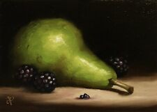 Jane Palmer Art original Still Life Oil Painting, Pear With Blackberries