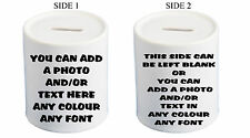 PERSONALISED MONEY BOX YOUR PHOTO TEXT GIFT CHRISTMAS BIRTHDAY CHRISTENING BANK