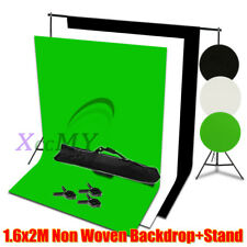 Photography Studio 1.6x2m Black White Green Backdrop Screen Background Stand Kit