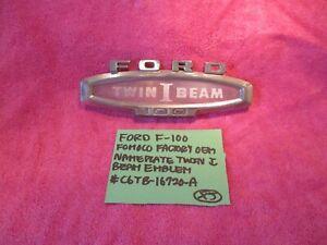 FORD F-100 FOMOCO OEM NAMEPLATE EMBLEM TWIN I BEAM C6TB-16720-A FREE SHIPPING