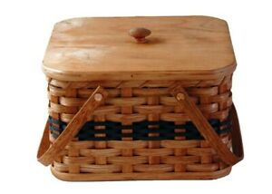 Pie Carrier, Amish Double Layer Basket Solid Oak Hard Bottom with Lid and Tray