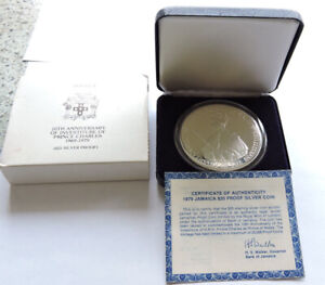 1979 JAMAICA $25 SILVER PROOF 10th ANNIVERSARY OF THE INVESTITURE CASED WITH COA