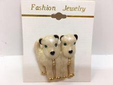 Crystal Green Eyes Women's Pin Brooch New 2 White Wheaten Terrier Dogs