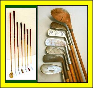 7 Antique Wood Shaft Golf Club Set Cochrans / MacGregor / Spalding +MORE