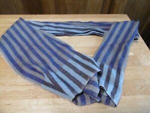 écharpe foulard Epice en laine à rayures bleu beige homme ou femme marin