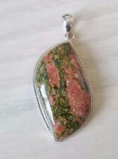 925 Sterling silver  Large Handcrafted Unakite pendant