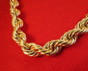 """20MM 18KT GOLD  EP  24,26,28 OR 30"""" FAT RUN DMC  ROPE DOOKIE CHAIN NECKLACE"""