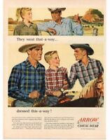 1954 ARROW Casual Wear Plaid Shirts Cowboys Horses art VTG PRINT AD