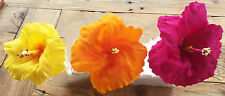"Mexican Cake Topper Crepe Paper Flowers Set of Three Hibiscus 5"", 4"" and 3"""