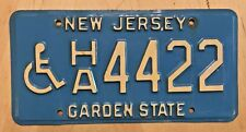 """NEW JERSEY DISABLED HANDICAPPED PERSON LICENSE PLATE """" HA 4422 """" NJ WHEELCHAIR"""