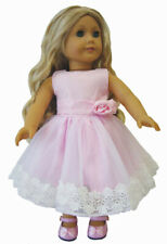 """Pink Dress with Crochet Lace for 18"""" American Girl  Doll Clothes"""