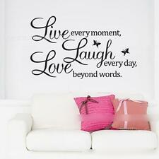"""Live Laugh Love"" English Words Butterflies Wall Sticker Home Decor Decal Mural"