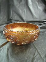Vintage Gold Carnival Iridescent Bowl with Rose Pattern, Scallop Rim