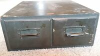 Weis 2 Drawer Antique Vintage Wooden Library Index Card Recipe Card File Box