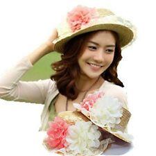 Women Ladies Bohemian Straw Flower Lace Summer Beach Travel bucket Sun Hat Cap